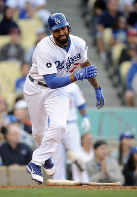 LOS ANGELES, CA - MAY 14:  Matt Kemp #27 of the Los Angeles Dodgers reacts at the plate as he hits a grounder to short to start a game ending double play against the Arizona Diamondbacks during the ninth inning at Dodger Stadium on May 14, 2011 in Los Ang
