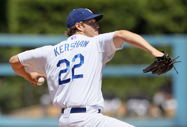 LOS ANGELES, CA - MAY 29:  Clayton Kershaw #22 of the Los Angeles Dodgers pitches against the Florida Marlins in the fourth inning against at Dodger Stadium on May 29, 2011 in Los Angeles, California.  (Photo by Jeff Gross/Getty Images)