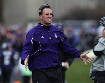 EVANSTON, IL - OCTOBER 23: Head coach Pat Fitzgerald of the Northwestern Wildcats encourages his team takes on the Michigan State Spartans at Ryan Field on October 23, 2010 in Evanston, Illinois. Michigan State defeated Northwestern 35-27.  (Photo by Jona