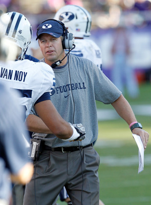 FORT WORTH, TX - OCTOBER 16:  Head coach Bronco Mendenhall of the BYU Cougars heads his team against the TCU Horned Frogs at Amon G. Carter Stadium on October 16, 2010 in Fort Worth, Texas.  TCU beat BYU 31-3. (Photo by Tom Pennington/Getty Images)