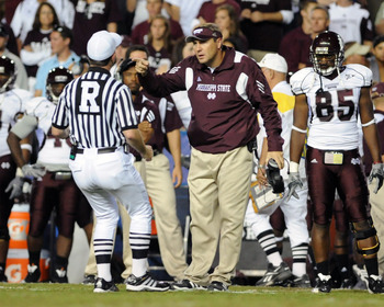 GAINESVILLE, FL - OCTOBER 16:  Coach Dan Mullen of the Mississippi State Bulldogs  questions a call during play against the Florida Gators  October 16, 2010 Ben Hill Griffin Stadium at Gainesville, Florida.  (Photo by Al Messerschmidt/Getty Images)