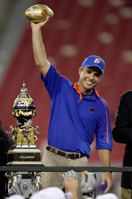 GLENDALE, AZ - JANUARY 04:  Head coach Chris Petersen of the Boise State Broncos celebrates after defeating the TCU Horned Frogs 17-10 during the Tostitos Fiesta Bowl at the Universtity of Phoenix Stadium on January 4, 2010 in Glendale, Arizona.  (Photo b