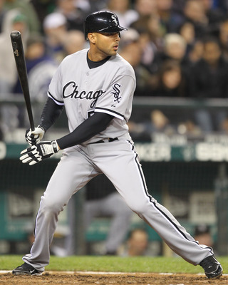 SEATTLE - MAY 06:  Alex Rios #51 of the Chicago White Sox bats against the Seattle Mariners at Safeco Field on May 6, 2011 in Seattle, Washington. The Mariners won 3-2. (Photo by Otto Greule Jr/Getty Images)