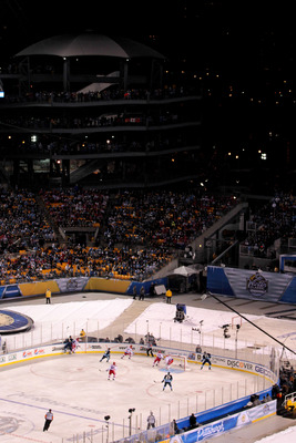 PITTSBURGH, PA - JANUARY 01:  A general view is seen as the Pittsburgh Penguins take on the Washington Capitals during the 2011 NHL Bridgestone Winter Classic at Heinz Field on January 1, 2011 in Pittsburgh, Pennsylvania. Washington won 3-1.  (Photo by Ja