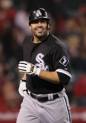 ANAHEIM, CA - MAY 09:  Carlos Quentin #20 of the Chicago White Sox smiles after hitting a three-run home run against the Los Angeles Angels of Anaheim in the seventh inning at Angel Stadium of Anaheim on May 9, 2011 in Anaheim, California. The White Sox d