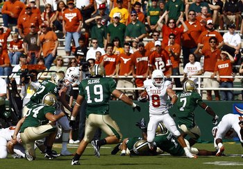 WACO, TX - NOVEMBER 14:  Wide receiver Jordan Shipley #8  of the Texas Longhorns carries the ball in the first half against the Baylor Bears on November 14, 2009 at Floyd Casey Stadium in Waco, Texas.  The Longhorns beat the Bears 47-14.  (Photo by Tom Pe