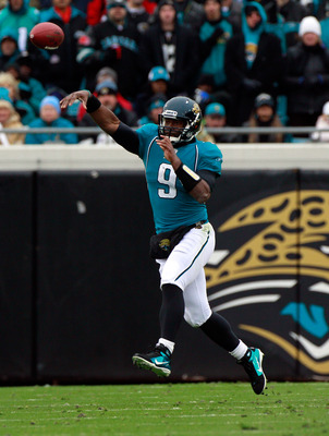 JACKSONVILLE, FL - DECEMBER 26:  Quarterback David Garrard #9 of the Jacksonville Jaguars attempts a pass during the game against the Washington Redskins at EverBank Field on December 26, 2010 in Jacksonville, Florida.  (Photo by Sam Greenwood/Getty Image