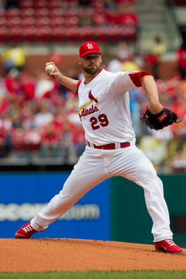 ST. LOUIS, MO - APRIL 23: Starter Chris Carpenter #29 of the St. Louis Cardinals pitches against the Cincinnati Reds at Busch Stadium on April 23, 2011 in St. Louis, Missouri.  (Photo by Dilip Vishwanat/Getty Images)