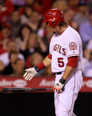 ANAHEIM, CA - MAY 7:  Jeff Mathis #5 of the Los Angeles Angels of Anaheim reacts after striking out to end the sixth inning with two runners on base against the Cleveland Indians on May 7, 2011 at Angel Stadium in Anaheim, California.    (Photo by Stephen