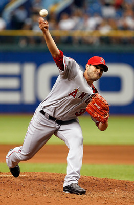 ST PETERSBURG, FL - APRIL 30:  :  Pitcher Joel Pineiro #35 of the Los Angeles Angels of Anaheim pitches against the Tampa Bay Rays during the game at Tropicana Field on April 30, 2011 in St. Petersburg, Florida.  (Photo by J. Meric/Getty Images)