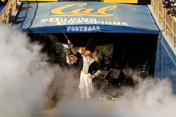 BERKELEY, CA - NOVEMBER 20:  Members of the California Golden Bears marching band run on to the field for their game against the Stanford Cardinal at California Memorial Stadium on November 20, 2010 in Berkeley, California.  (Photo by Ezra Shaw/Getty Imag