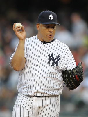 NEW YORK, NY - MAY 13:  Bartolo Colon #40 of the New York Yankees stands between pitches against the Boston Red Sox during their game on May 13, 2011 at Yankee Stadium in the Bronx borough of New York City.  (Photo by Al Bello/Getty Images)