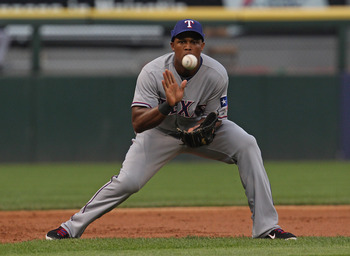 CHICAGO, IL - MAY 17: Adrian Beltre #29 of the Texas Rangers fields the ball at 3rd base against the Chicago White Sox at U.S. Cellular Field on May 17, 2011 in Chicago, Illinois. (Photo by Jonathan Daniel/Getty Images)