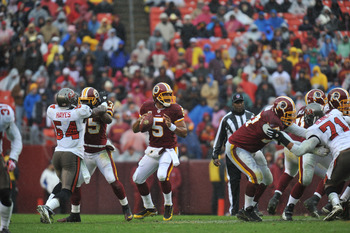 LANDOVER, MD - DECEMBER 12:  Donovan McNabb #5 of the Washington Redskins passes against the Tampa Bay Buccaneers  at FedExField on December 12, 2010 in Landover, Maryland. The Buccaneers defeated the Redskins 17-16. (Photo by Larry French/Getty Images)