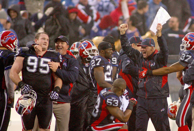 ORCHARD PARK, NY - NOVEMBER 14: Members of the Buffalo Bills celebrate after winning their first game of the season against the Detroit Lions at Ralph Wilson Stadium on November 14, 2010 in Orchard Park, New York. Buffalo won 14-12. (Photo by Rick Stewart