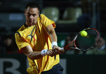 ROME - APRIL 30:  Robin Soderling of Sweden in action in his match against Rafael Nadal of Spain during day four of the Foro Italico Tennis Masters on April 30, 2009 in Rome, Italy.  (Photo by Julian Finney/Getty Images)
