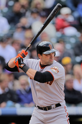 DENVER, CO - APRIL 20:  Mark DeRosa #7 of the San Francisco Giants takes an at bat against the Colorado Rockies at Coors Field on April 20, 2011 in Denver, Colorado.  (Photo by Doug Pensinger/Getty Images)