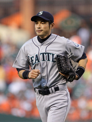 BALTIMORE, MD - MAY 12:  Ichiro Suzuki #51 of the Seattle Mariners in action against the Baltimore Orioles at Oriole Park at Camden Yards on May 12, 2011 in Baltimore, Maryland.  (Photo by Rob Carr/Getty Images)