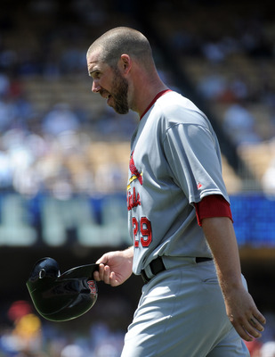 LOS ANGELES, CA - APRIL 17:  Chris Carpenter #29 of the St. Louis Cardinals leaves the mound against the Los Angeles Dodgers at Dodger Stadium on April 17, 2011 in Los Angeles, California.  (Photo by Harry How/Getty Images)