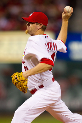 ST. LOUIS, MO - APRIL 23: Reliever Ryan Franklin #31 of the St. Louis Cardinals pitches against the Cincinnati Reds at Busch Stadium on April 23, 2011 in St. Louis, Missouri.  (Photo by Dilip Vishwanat/Getty Images)