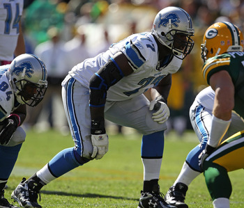 GREEN BAY, WI - OCTOBER 03: Gosder Cherilus #77 of the Detroit Lions awaits the start of play against the Green Bay Packers at Lambeau Field on October 3, 2010 in Green Bay, Wisconsin. The Packers defeated the Lions 28-26. (Photo by Jonathan Daniel/Getty