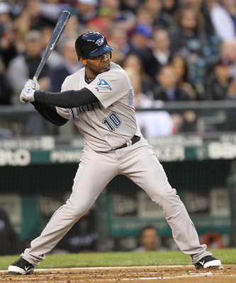 SEATTLE, WA - APRIL 12:  Edwin Encarnacion #10 of the Toronto Blue Jays bats against the Seattle Mariners at Safeco Field on April 12, 2011 in Seattle, Washington. (Photo by Otto Greule Jr/Getty Images)