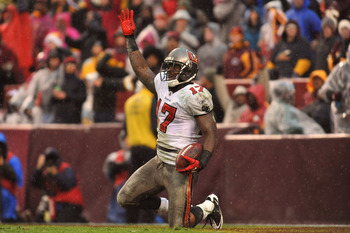 LANDOVER, MD - DECEMBER 12:  Arrelious Benn #17 of the Tampa Bay Buccaneers celebrates a late game touchdown against the Washington Redskins at FedExField on December 12, 2010 in Landover, Maryland. The Buccaneers defeated the Redskins 17-16. (Photo by La