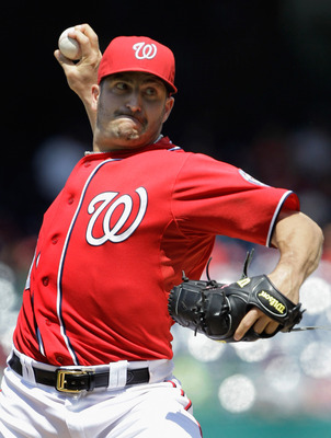 WASHINGTON, DC - MAY 15:  Starting pitcher Jason Marquis #21 of the Washington Nationals delivers to a Florida Marlins batter during the third inning at Nationals Park on May 15, 2011 in Washington, DC.  (Photo by Rob Carr/Getty Images)