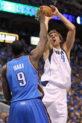 DALLAS, TX - MAY 17:  Dirk Nowitzki #41 of the Dallas Mavericks shoots over Serge Ibaka #9 of the Oklahoma City Thunder in the second quarter in Game One of the Western Conference Finals during the 2011 NBA Playoffs at American Airlines Center on May 17,