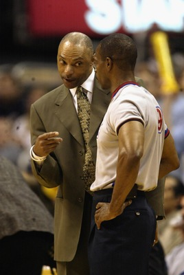 LOS ANGELES - MAY 11:  Assistant coach Jim Cleamons of the Los Angeles Lakers argues with referee Tom Washington in Game four of the Western Conference Semifinals against the San Antonio Spurs during the 2003 NBA Playoffs on May 11, 2003 at Staples Center