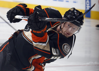 TORONTO, CANADA - JANUARY 20: Jason Blake #33 of the Anaheim Ducks shoots during warmup before game action at the Air Canada Centre against the Toronto Maple Leafs January 20, 2011 in Toronto, Ontario, Canada. (Photo by Abelimages/Getty Images)