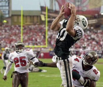Wayne Chrebet catching a touchdown pass from Curtis Martin.