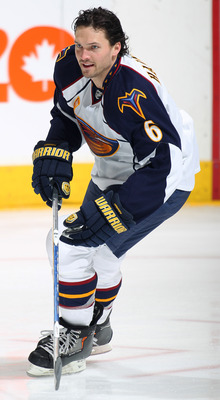 TORONTO, CANADA - FEBRUARY 07:  Ron Hainsey #6 of the Atlanta Thrashers skates in the warm-up prior to a game against the Toronto Maple Leafs on February 7, 2011 at the Air Canada Centre in Toronto, Canada. The Leafs defeated the Thrashers 5-4. (Photo by