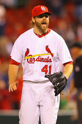 ST. LOUIS, MO - APRIL 22: Reliever Mitchell Boggs #41 of the St. Louis Cardinals celebrates a victory over the Cincinnati Reds at Busch Stadium on April 22, 2011 in St. Louis, Missouri.  (Photo by Dilip Vishwanat/Getty Images)