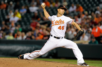 BALTIMORE, MD - APRIL 27:  Jeremy Guthrie #46 of the Baltimore Orioles pitches against the Boston Red Sox at Oriole Park at Camden Yards on April 27, 2011 in Baltimore, Maryland.  (Photo by Greg Fiume/Getty Images)