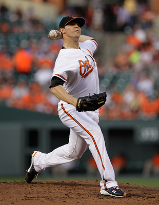 BALTIMORE, MD - MAY 12:  Starting pitcher Zach Britton #53 of the Baltimore Orioles delivers to a Seattle Mariners batter at Oriole Park at Camden Yards on May 12, 2011 in Baltimore, Maryland.  (Photo by Rob Carr/Getty Images)