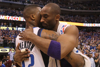 DALLAS, TX - MAY 08:  Guard Kobe Bryant #24 of the Los Angeles Lakers hugs DeShawn Stevenson #92 after a loss against the Dallas Mavericks in Game Four of the Western Conference Semifinals during the 2011 NBA Playoffs on May 8, 2011 at American Airlines C