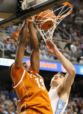 GREENSBORO, NC - DECEMBER 18:  Tristan Thompson #13 of the Texas Longhorns dunks against Tyler Zeller #44 of the North Carolina Tar Heels at Greensboro Coliseum on December 18, 2010 in Greensboro, North Carolina.  (Photo by Kevin C. Cox/Getty Images)