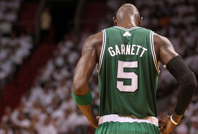 MIAMI, FL - MAY 03:  Kevin Garnett #5 of the Boston Celtics looks on during Game Two of the Eastern Conference Semifinals of the 2011 NBA Playoffs against the Miami Heat at American Airlines Arena on May 3, 2011 in Miami, Florida. NOTE TO USER: User expre