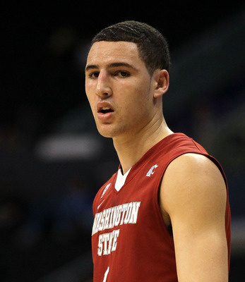 LOS ANGELES, CA - MARCH 10:  Klay Thompson #1 of the Washington State Cougars looks on in the first half while taking on the Washington Huskies in the quarterfinals of the 2011 Pacific Life Pac-10 Men's Basketball Tournament at Staples Center on March 10,