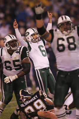 SAN DIEGO - JANUARY 08:  Kicker Doug Brien #6 of the New York Jets celebrates after kicking the game winning field goal in overtime against the San Diego Chargers during the AFC wild-card game at Qualcomm Stadium on January 8, 2005 in San Diego, Californi