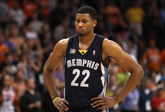 PHOENIX - NOVEMBER 05:  Rudy Gay #22 of the Memphis Grizzlies reacts after a missed free throw shot during the NBA game against the Phoenix Suns at US Airways Center on November 5, 2010 in Phoenix, Arizona. The Suns defeated the Grizzlies 123-118 in doubl