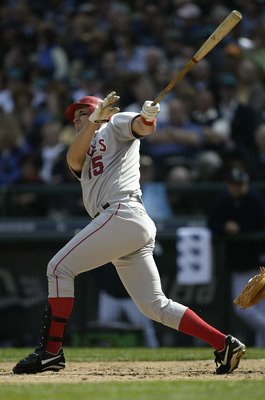 SEATTLE - APRIL 6:  Designated hitter Tim Salmon #15 of the  Anaheim Angels swings during the game against the Seattle Mariners on April 6, 2004 at Safeco Field in Seattle, Washington. The Angels won the season opener 10-5. (Photo by Otto Greule Jr/Getty