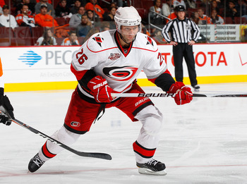 PHILADELPHIA - NOVEMBER 01:  Erik Cole #26 of the Carolina Hurricanes skates against the Philadelphia Flyers on November 1, 2010 at the Wells Fargo Center in Philadelphia, Pennsylvania. Flyers defeat the Hurricanes 3-2.  (Photo by Mike Stobe/Getty Images)