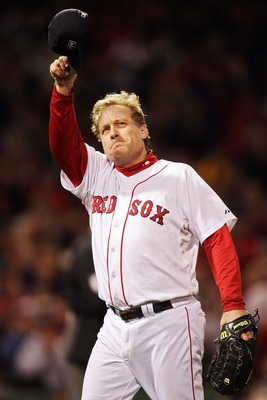 BOSTON - OCTOBER 25:  Curt Schilling #38 of the Boston Red Sox tips his hat to the crowd as he comes out of the game in the sixth inning against the Colorado Rockies during Game Two of the 2007 Major League Baseball World Series at Fenway Park on October