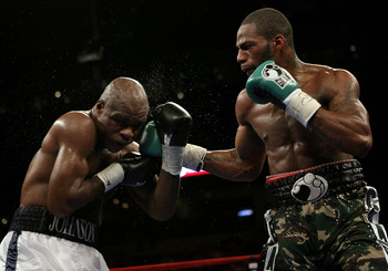 TAMPA, FLORIDA - APRIL 12:   Action between Chad Dawson (R) and  Glen Johnson during the WBC Light Heavyweight title fight on Saturday April 12, 2008 at St. Pete Times Forum, Tampa, Florida.  (Photo by John Gichigi/Getty Images)