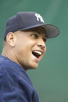 SEATTLE - AUGUST 24:  Alex Rodriguez #13 of the New York Yankees smiles before the game against the Seattle Mariners on August 24, 2006 at Safeco Field in Seattle Washington. (Photo by Otto Greule Jr/Getty Images)