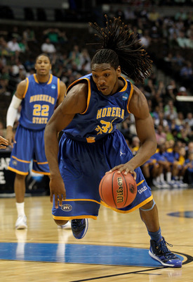 DENVER, CO - MARCH 17:  Kenneth Faried #35 of the Morehead State Eagles handles the ball agianst the Louisville Cardinals during the second round of the 2011 NCAA men's basketball tournament at Pepsi Center on March 17, 2011 in Denver, Colorado.  (Photo b