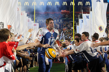 MIAMI GARDENS, FL - JANUARY 31:  Aaron Rodgers of the Green Bay Packers takes the field during the 2010 AFC-NFC Pro Bowl at Sun Life Stadium on January 31, 2010 in Miami Gardens, Florida.  (Photo by Scott Halleran/Getty Images)