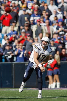 ORCHARD PARK - OCTOBER 19:  Quarterback Philip Rivers #17 of the San Diego Chargers passes the ball during the game against the Buffalo Bills on October 19, 2008 at Ralph Wilson Stadium in Orchard Park, New York.  (Photo by: Rick Stewart/Getty Images)